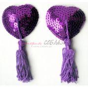 Пэстисы с пайетками фиолетового цвета с длинными кисточками<p>Универсальный</p>