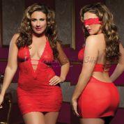 Ажурное платье красное с глубоким декольте<p>One Size до XL (50)</p>