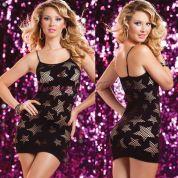 Бесшовное черное платье-сетка с ажурными звездами<p>One Size (40-48)</p>