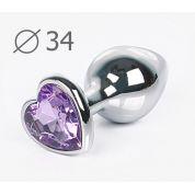 Втулка анальная серебряная со светло-фиолетовым кристаллом в виде сердечка