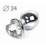 Втулка анальная серебряная с прозрачным кристаллом в виде сердечка